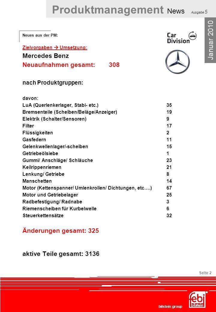 Produktmanagement News Ausgabe 5 bilstein group Seite 2 Neues aus der PM: Zielvorgaben Umsetzung: Mercedes Benz Neuaufnahmen gesamt:308 nach Produktgr