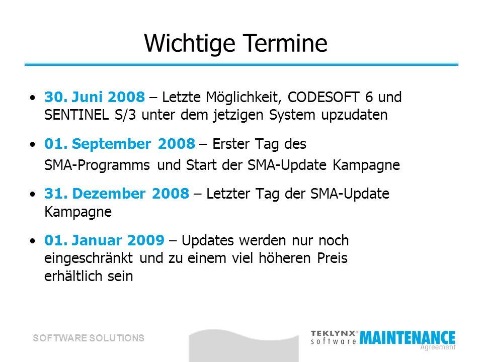 SOFTWARE SOLUTIONS Wichtige Termine 30. Juni 2008 – Letzte Möglichkeit, CODESOFT 6 und SENTINEL S/3 unter dem jetzigen System upzudaten 01. September