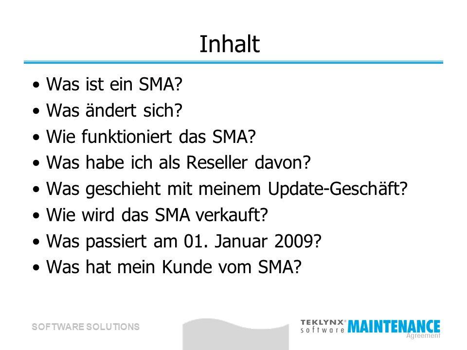 SOFTWARE SOLUTIONS Inhalt Was ist ein SMA.Was ändert sich.