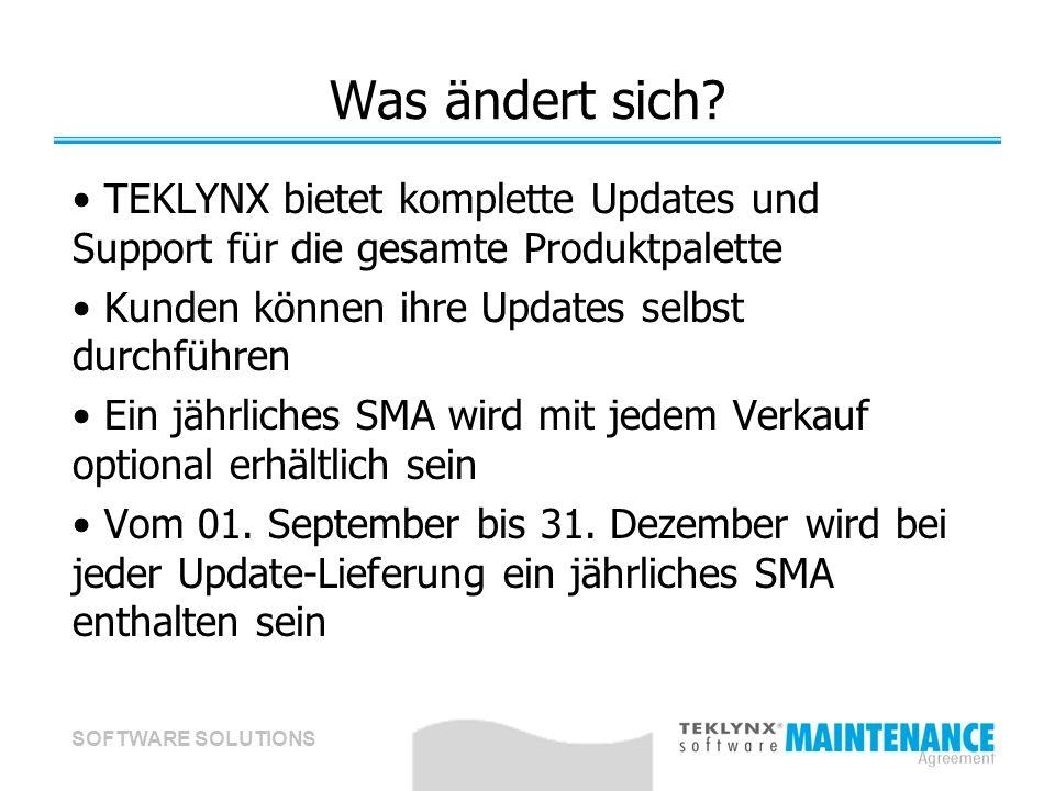 SOFTWARE SOLUTIONS Was ändert sich? TEKLYNX bietet komplette Updates und Support für die gesamte Produktpalette Kunden können ihre Updates selbst durc