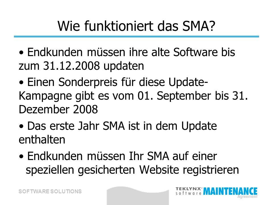SOFTWARE SOLUTIONS Wie funktioniert das SMA? Endkunden müssen ihre alte Software bis zum 31.12.2008 updaten Einen Sonderpreis für diese Update- Kampag