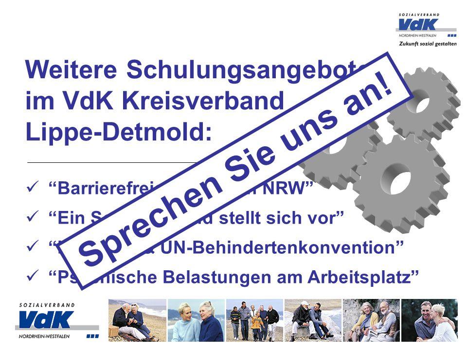 Weitere Schulungsangebote im VdK Kreisverband Lippe-Detmold: Barrierefreies Bauen in NRW Ein Sozialverband stellt sich vor Inklusion & UN-Behindertenk