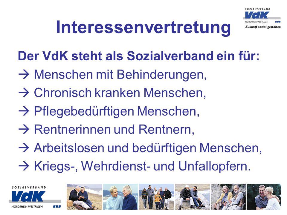 Der VdK steht als Sozialverband ein für: Menschen mit Behinderungen, Chronisch kranken Menschen, Pflegebedürftigen Menschen, Rentnerinnen und Rentnern