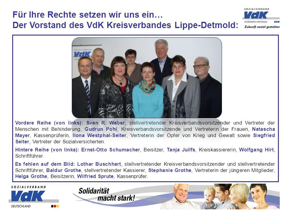 Vordere Reihe (von links): Sven R. Weber, stellvertretender Kreisverbandsvorsitzender und Vertreter der Menschen mit Behinderung, Gudrun Pohl, Kreisve
