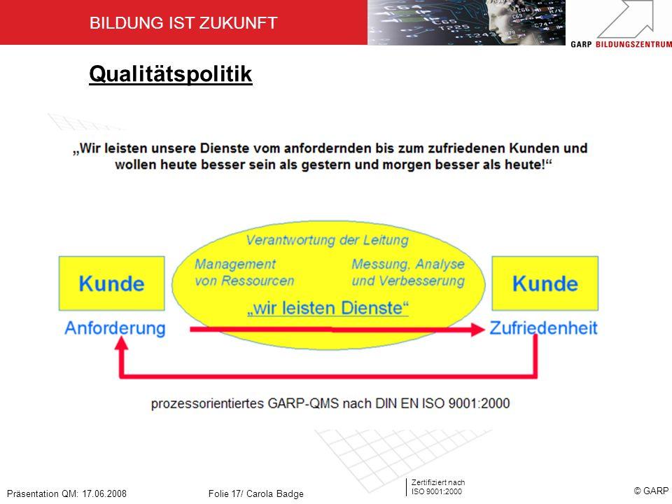 BILDUNG IST ZUKUNFT Zertifiziert nach ISO 9001:2000 © GARP Präsentation QM: 17.06.2008Folie 17/ Carola Badge Qualitätspolitik