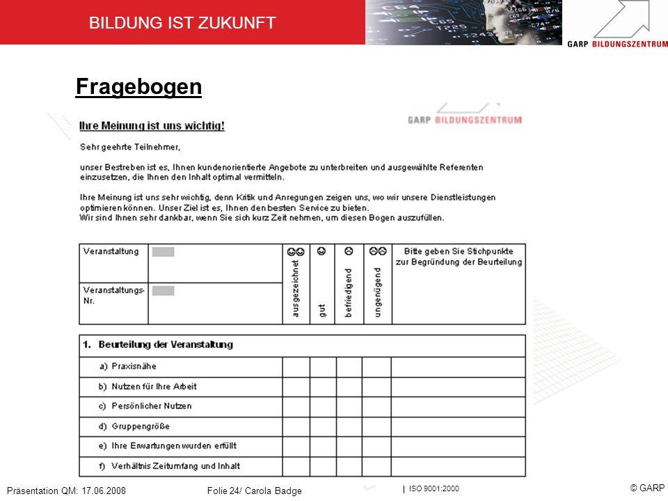 BILDUNG IST ZUKUNFT Zertifiziert nach ISO 9001:2000 © GARP Präsentation QM: 17.06.2008Folie 24/ Carola Badge Fragebogen