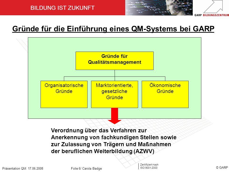 BILDUNG IST ZUKUNFT Zertifiziert nach ISO 9001:2000 © GARP Präsentation QM: 17.06.2008Folie 6/ Carola Badge Organisatorische Gründe Ökonomische Gründe