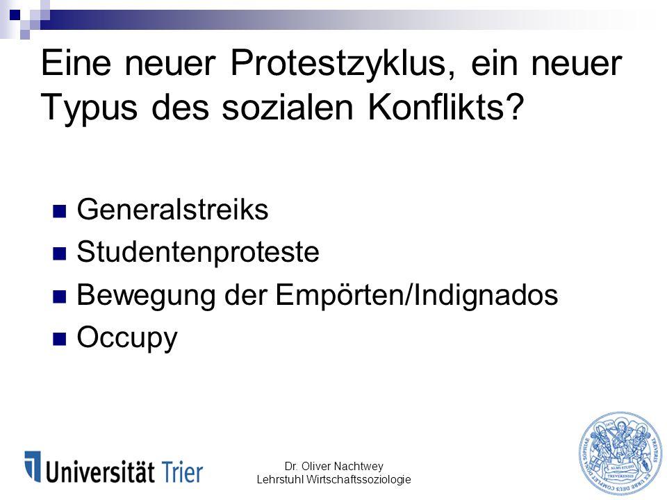 Eine neuer Protestzyklus, ein neuer Typus des sozialen Konflikts? Generalstreiks Studentenproteste Bewegung der Empörten/Indignados Occupy Dr. Oliver