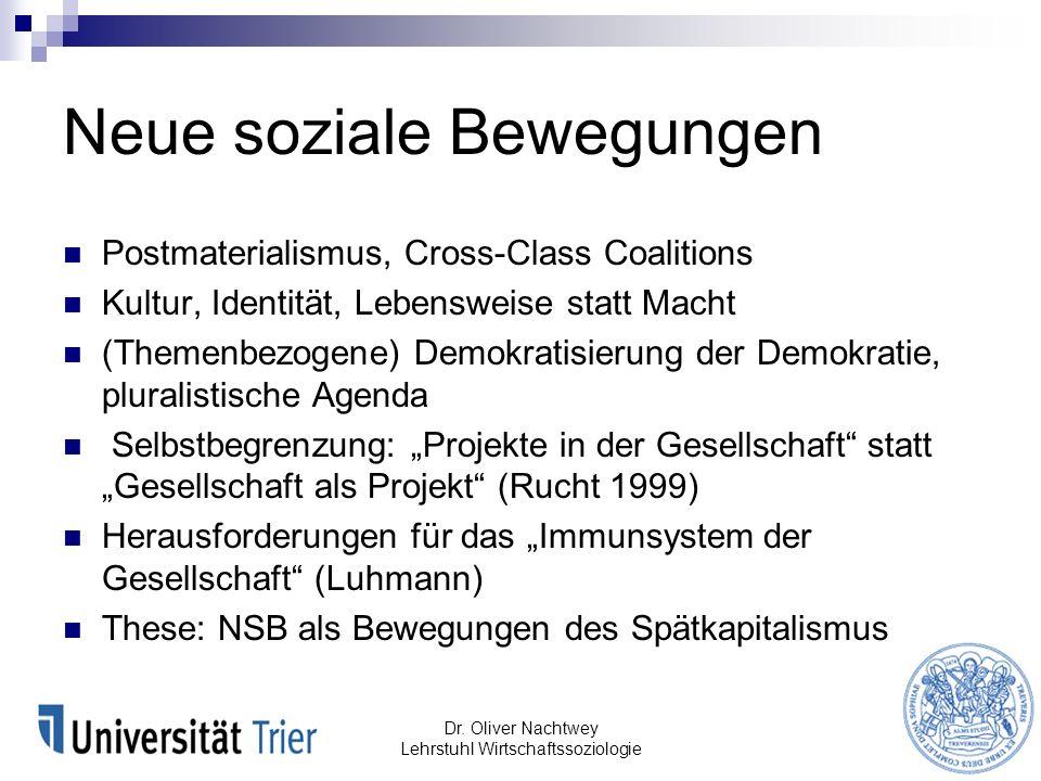 Postmaterialismus, Cross-Class Coalitions Kultur, Identität, Lebensweise statt Macht (Themenbezogene) Demokratisierung der Demokratie, pluralistische