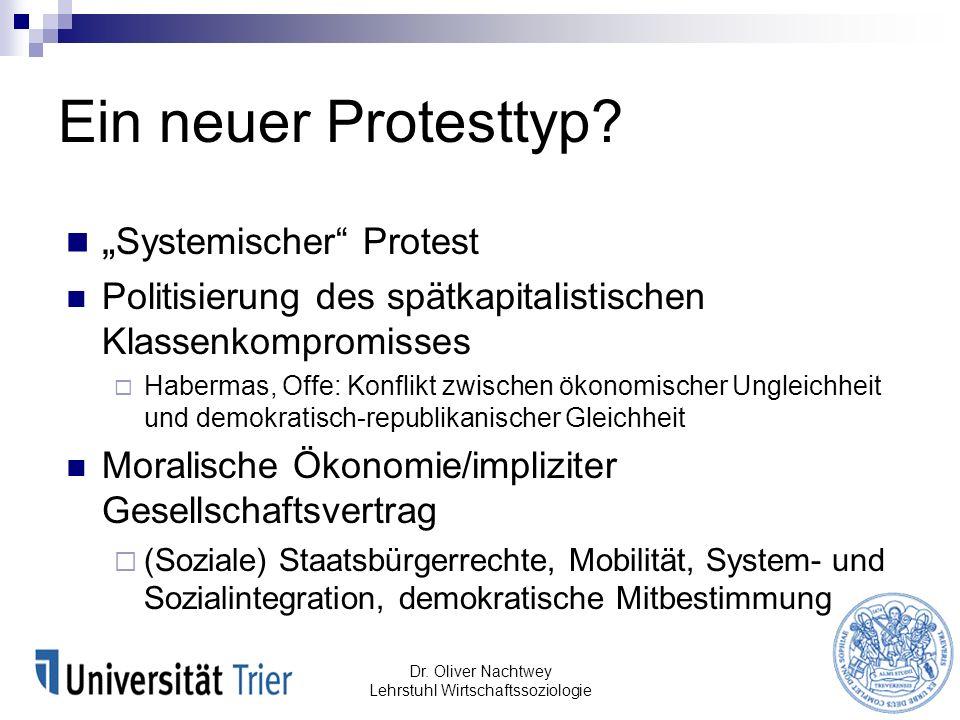 Ein neuer Protesttyp? Systemischer Protest Politisierung des spätkapitalistischen Klassenkompromisses Habermas, Offe: Konflikt zwischen ökonomischer U