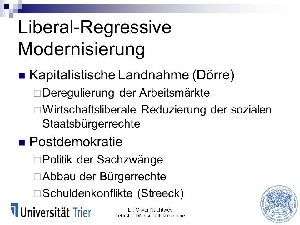 Liberal-Regressive Modernisierung Dr. Oliver Nachtwey Lehrstuhl Wirtschaftssoziologie Kapitalistische Landnahme (Dörre) Deregulierung der Arbeitsmärkt