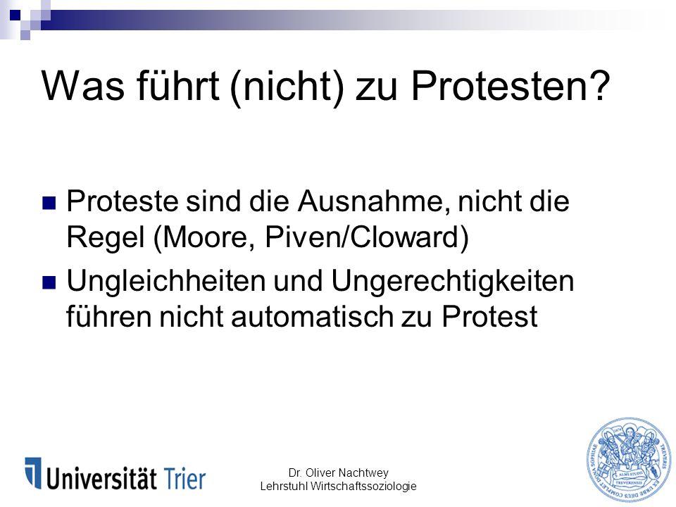Was führt (nicht) zu Protesten? Proteste sind die Ausnahme, nicht die Regel (Moore, Piven/Cloward) Ungleichheiten und Ungerechtigkeiten führen nicht a