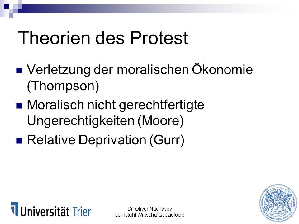 Theorien des Protest Verletzung der moralischen Ökonomie (Thompson) Moralisch nicht gerechtfertigte Ungerechtigkeiten (Moore) Relative Deprivation (Gu