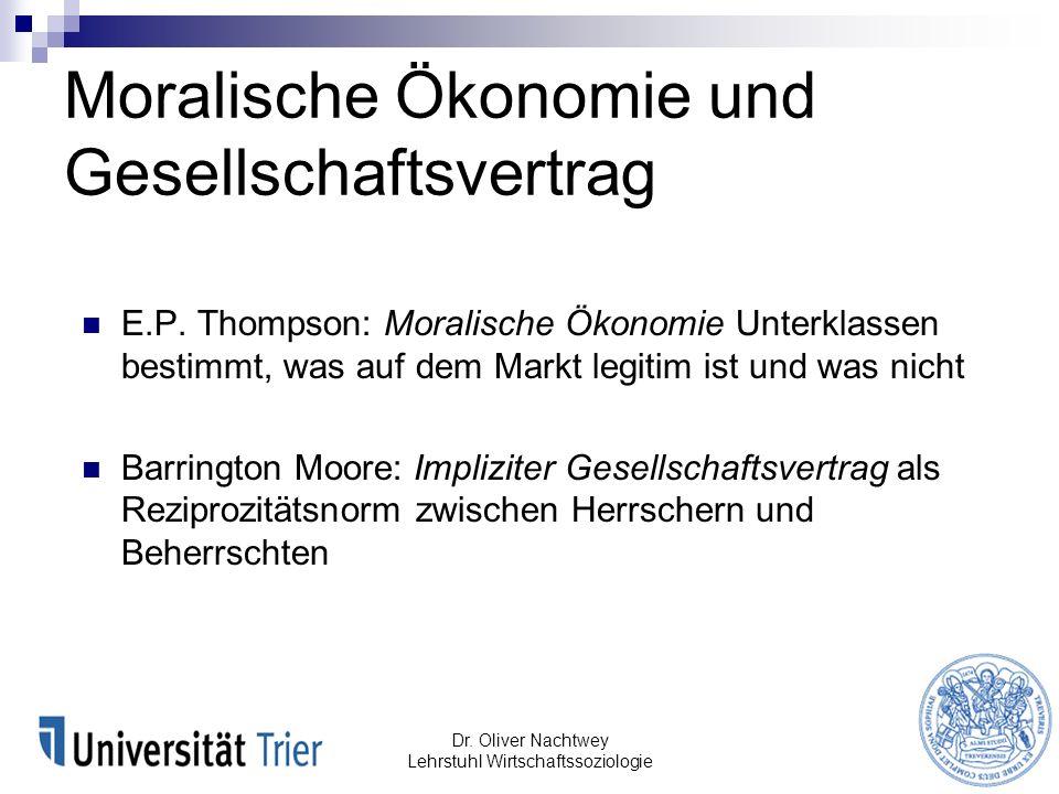 Moralische Ökonomie und Gesellschaftsvertrag E.P. Thompson: Moralische Ökonomie Unterklassen bestimmt, was auf dem Markt legitim ist und was nicht Bar