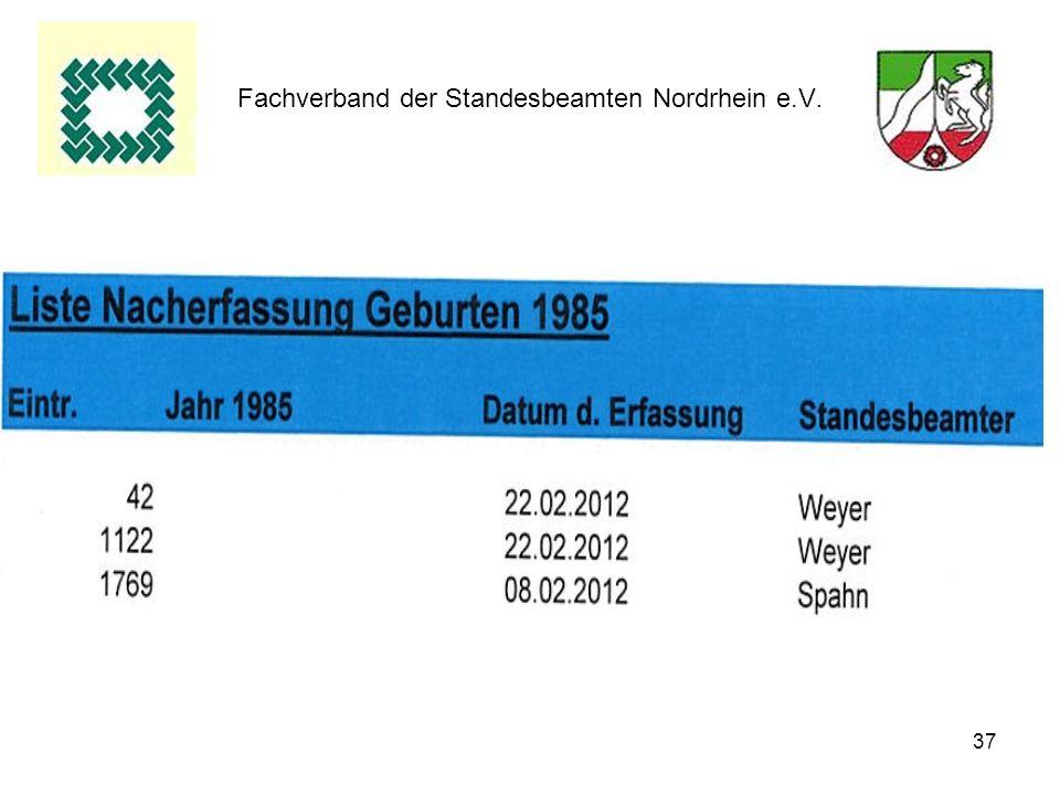 37 Fachverband der Standesbeamten Nordrhein e.V.
