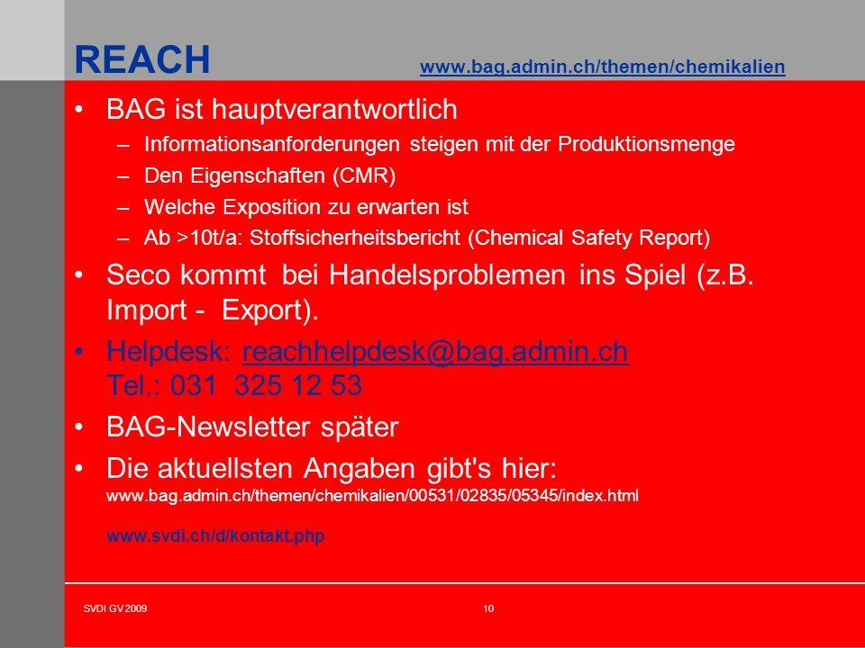 SVDI GV 200910 BAG ist hauptverantwortlich –Informationsanforderungen steigen mit der Produktionsmenge –Den Eigenschaften (CMR) –Welche Exposition zu