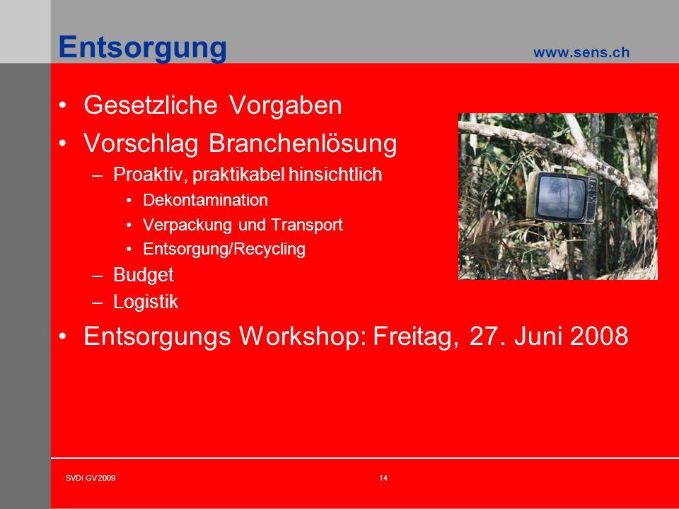 SVDI GV 200914 Entsorgung www.sens.ch Gesetzliche Vorgaben Vorschlag Branchenlösung –Proaktiv, praktikabel hinsichtlich Dekontamination Verpackung und