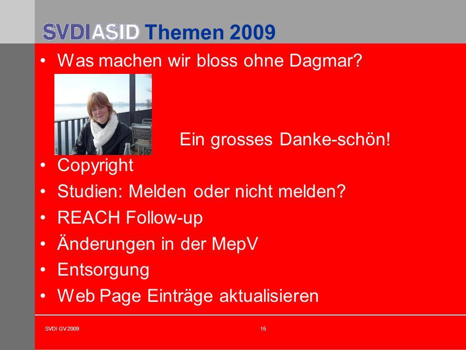 SVDI GV 200915 Themen 2009 Was machen wir bloss ohne Dagmar? Ein grosses Danke-schön! Copyright Studien: Melden oder nicht melden? REACH Follow-up Änd