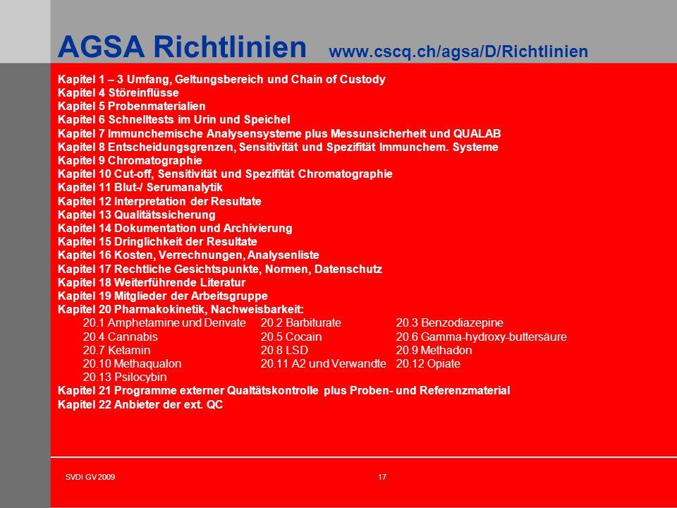SVDI GV 200917 AGSA Richtlinien www.cscq.ch/agsa/D/Richtlinien Kapitel 1 – 3 Umfang, Geltungsbereich und Chain of Custody Kapitel 4 Störeinflüsse Kapi