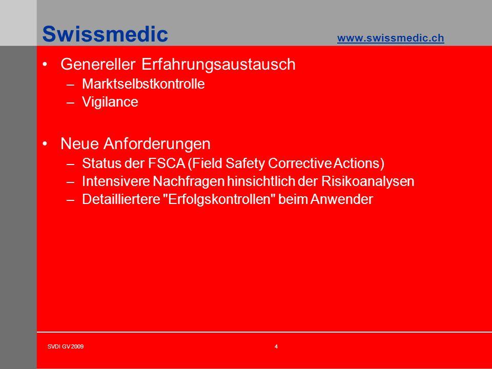 SVDI GV 20094 Swissmedic www.swissmedic.ch Genereller Erfahrungsaustausch –Marktselbstkontrolle –Vigilance Neue Anforderungen –Status der FSCA (Field