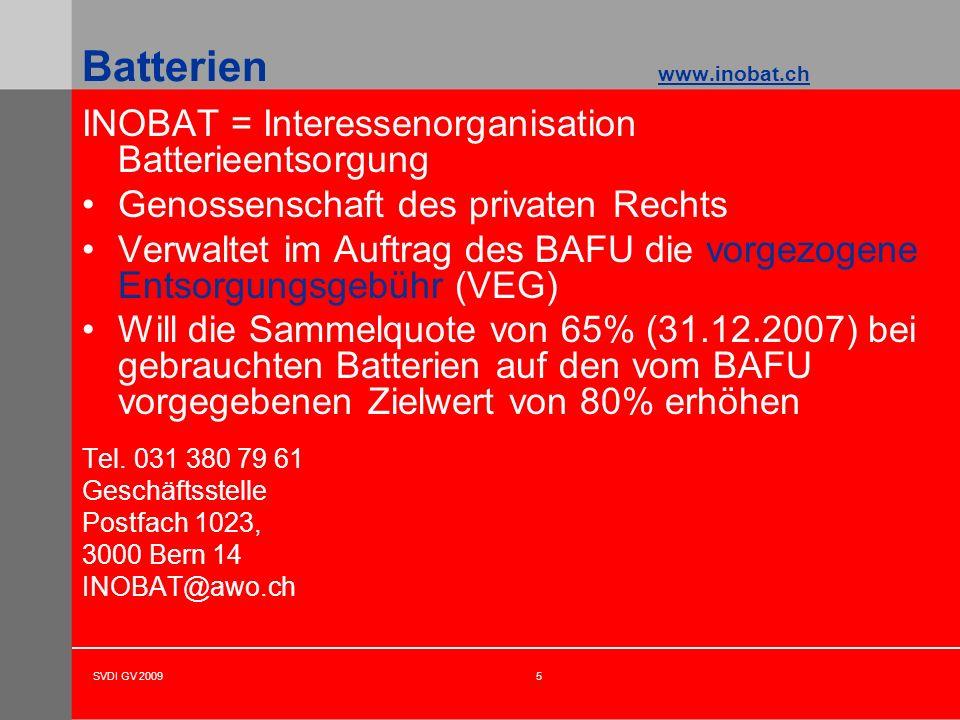 SVDI GV 20095 Batterien www.inobat.ch INOBAT = Interessenorganisation Batterieentsorgung Genossenschaft des privaten Rechts Verwaltet im Auftrag des B
