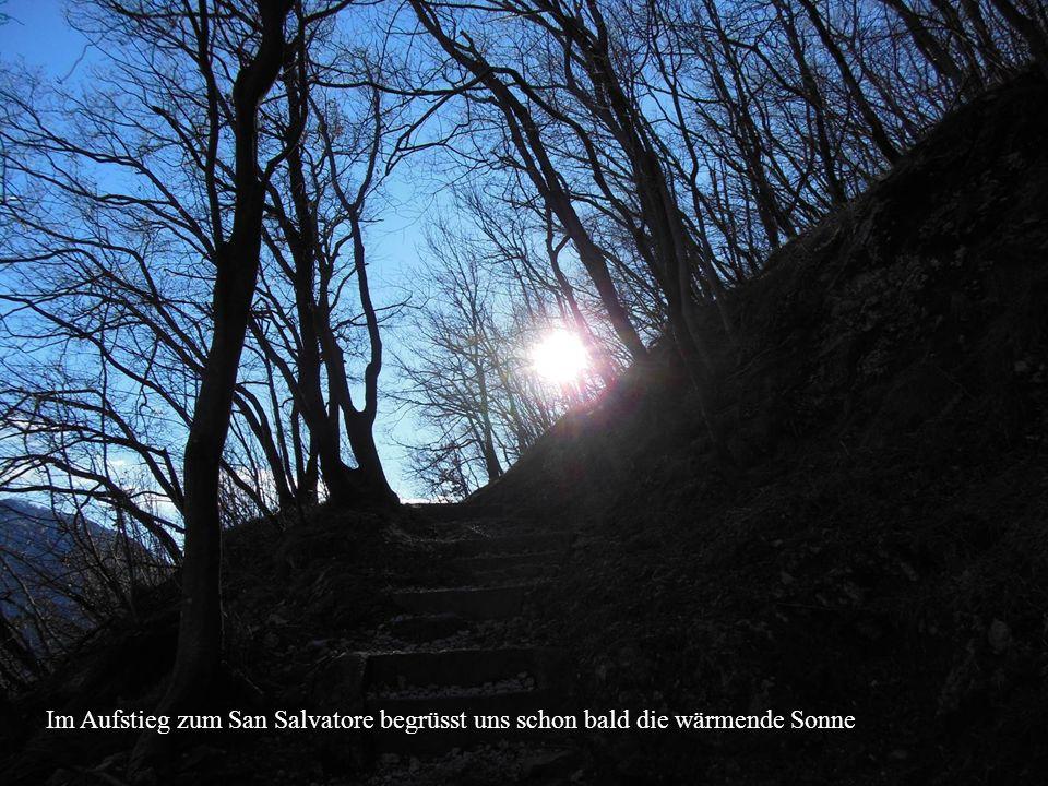 Im Aufstieg zum San Salvatore begrüsst uns schon bald die wärmende Sonne
