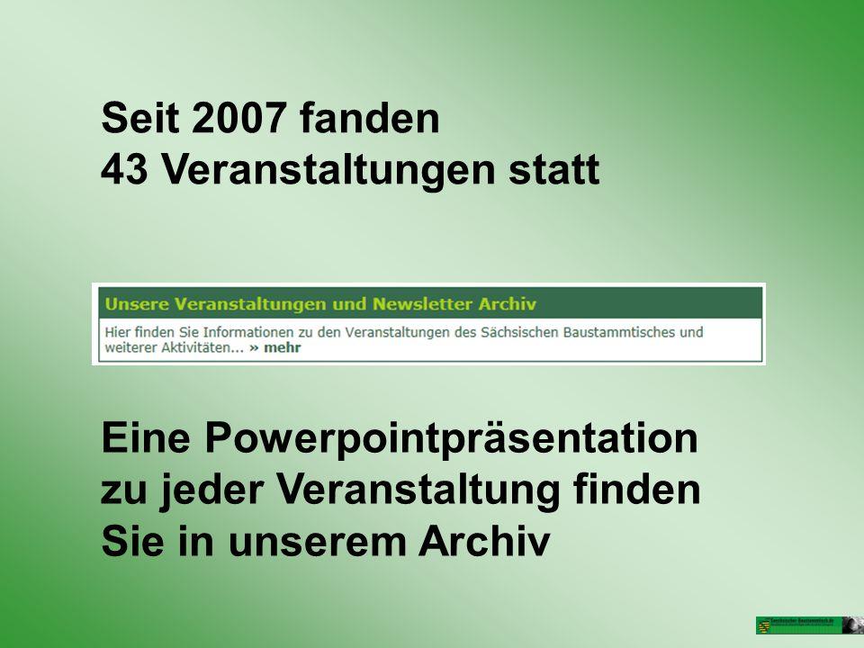 Seit 2007 fanden 43 Veranstaltungen statt Eine Powerpointpräsentation zu jeder Veranstaltung finden Sie in unserem Archiv