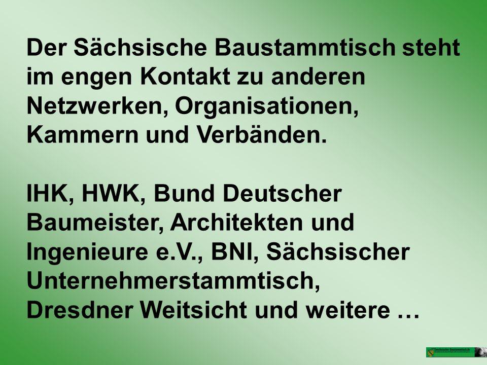 Der Sächsische Baustammtisch steht im engen Kontakt zu anderen Netzwerken, Organisationen, Kammern und Verbänden.