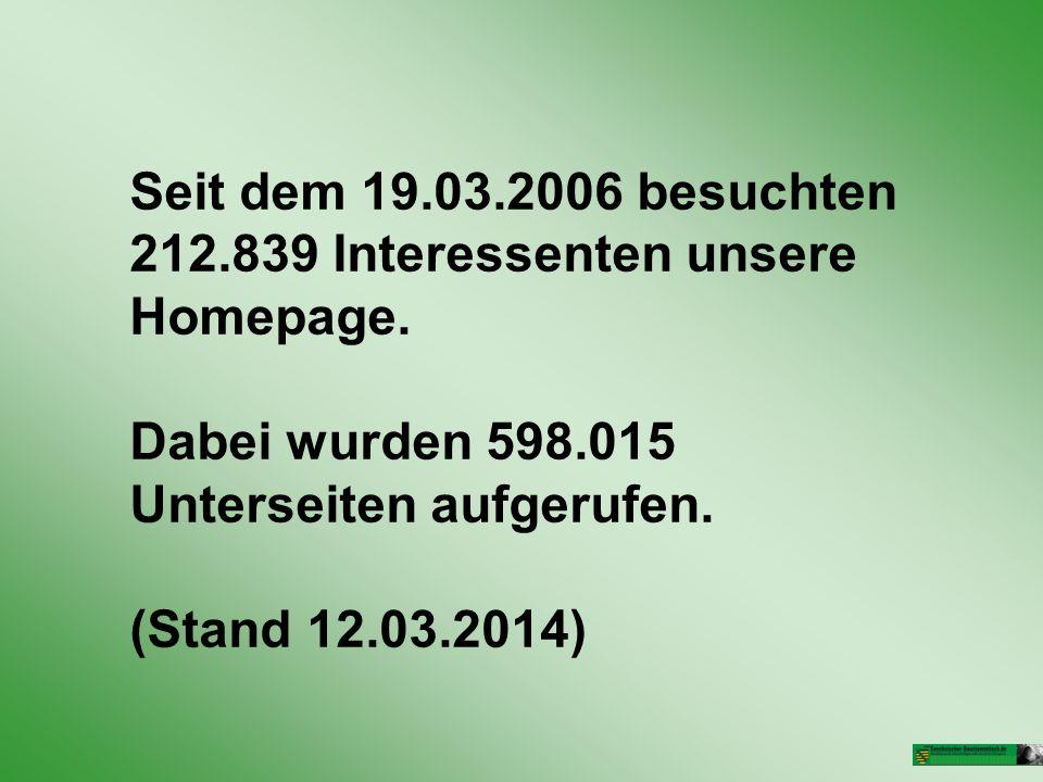 Seit dem 19.03.2006 besuchten 212.839 Interessenten unsere Homepage.