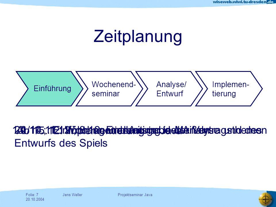 Jens WellerFolie: 8 20.10.2004 Projektseminar Java Vortragstechnik