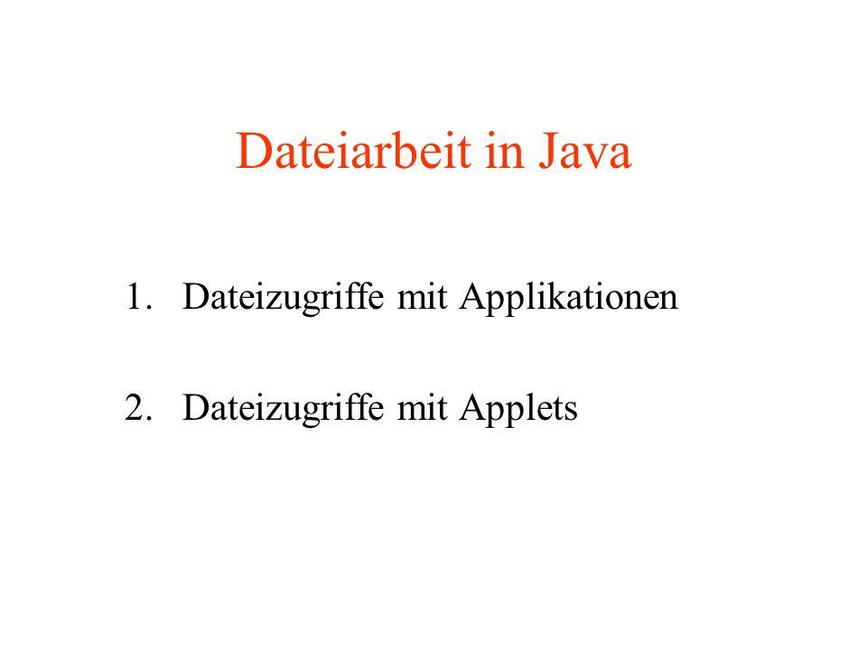 Dateiarbeit in Java 1.Dateizugriffe mit Applikationen 2. Dateizugriffe mit Applets