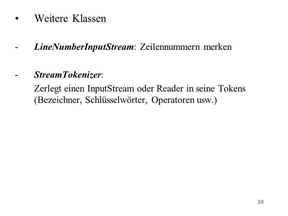 10 Weitere Klassen -LineNumberInputStream: Zeilennummern merken -StreamTokenizer: Zerlegt einen InputStream oder Reader in seine Tokens (Bezeichner, S