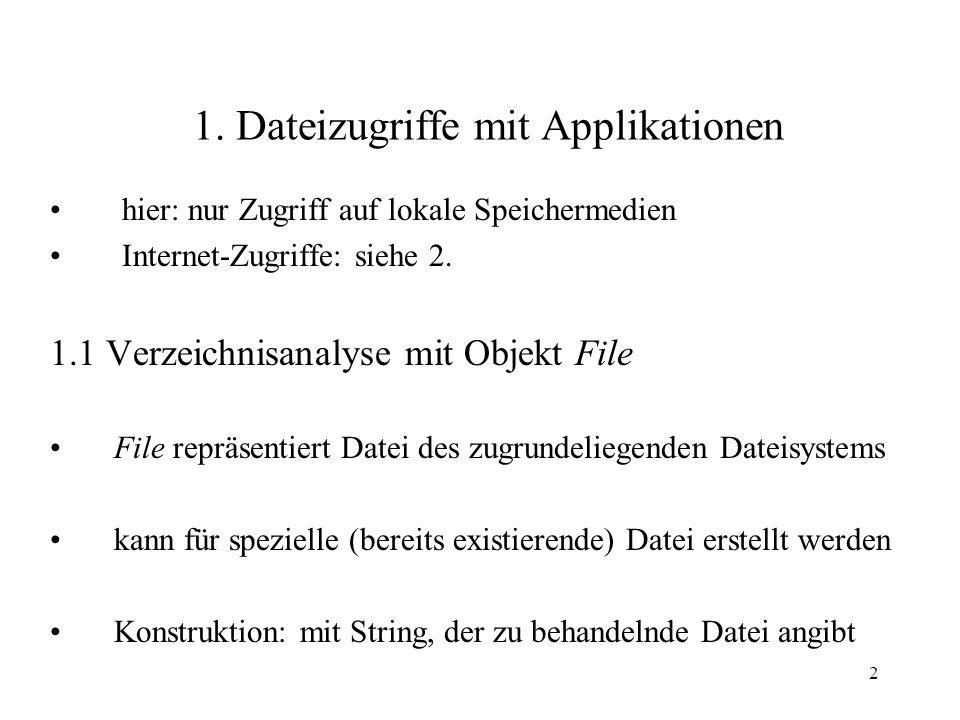 2 1. Dateizugriffe mit Applikationen hier: nur Zugriff auf lokale Speichermedien Internet-Zugriffe: siehe 2. 1.1 Verzeichnisanalyse mit Objekt File Fi