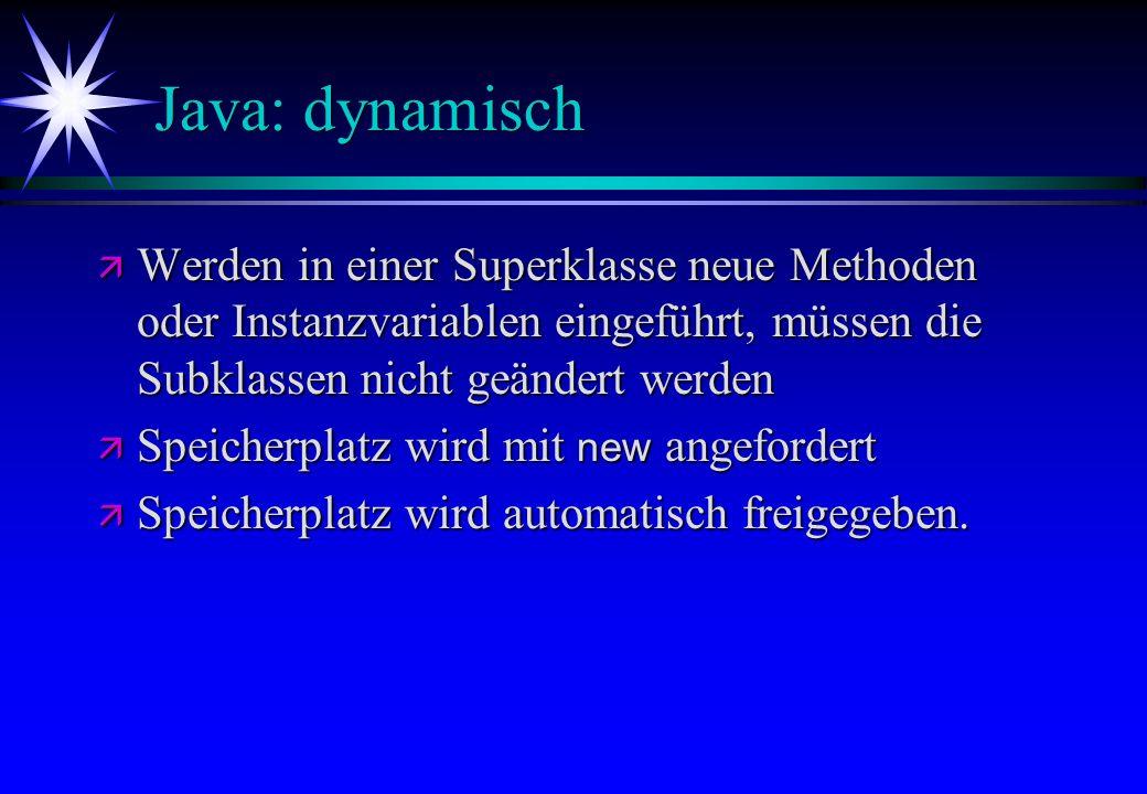 Java: dynamisch ä Werden in einer Superklasse neue Methoden oder Instanzvariablen eingeführt, müssen die Subklassen nicht geändert werden Speicherplat