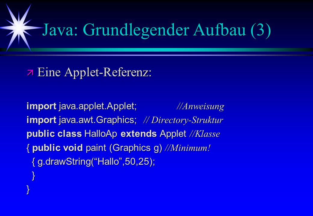 Java: Grundlegender Aufbau (3) ä Eine Applet-Referenz: import java.applet.Applet; //Anweisung import java.awt.Graphics; // Directory-Struktur public c
