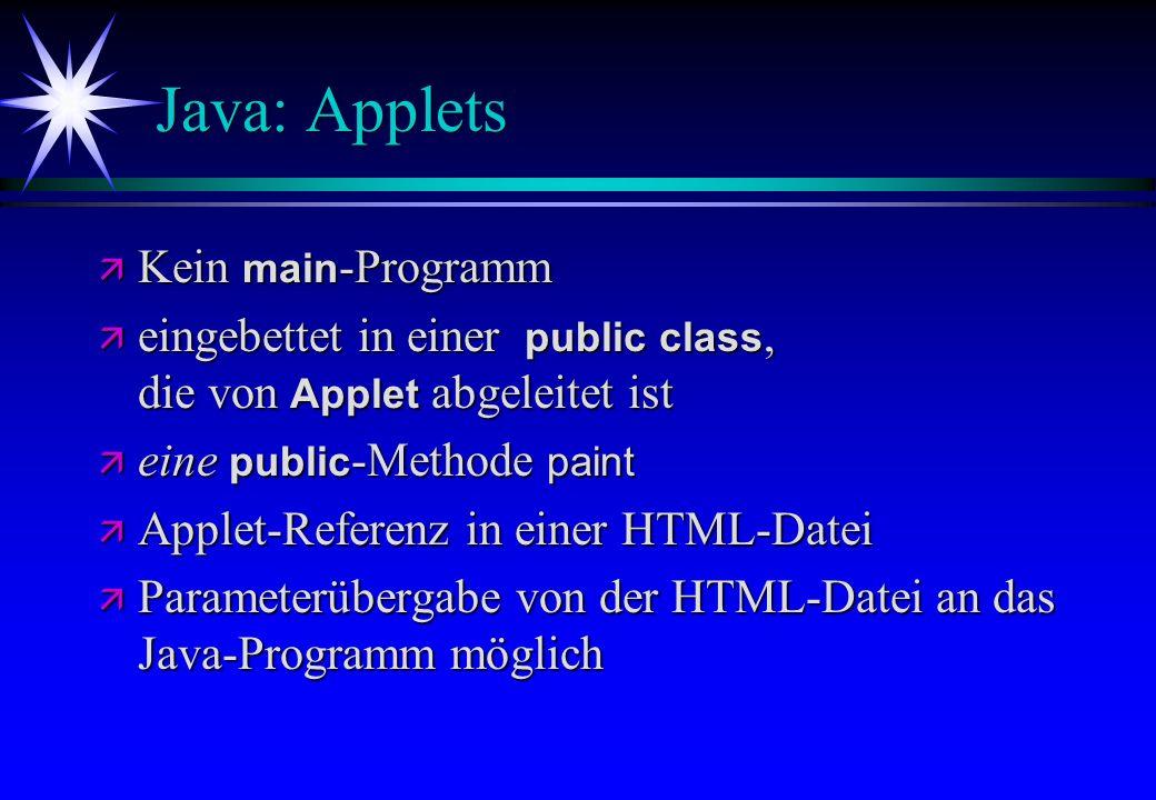 Java: Applets Kein main -Programm Kein main -Programm eingebettet in einer public class, die von Applet abgeleitet ist eingebettet in einer public cla