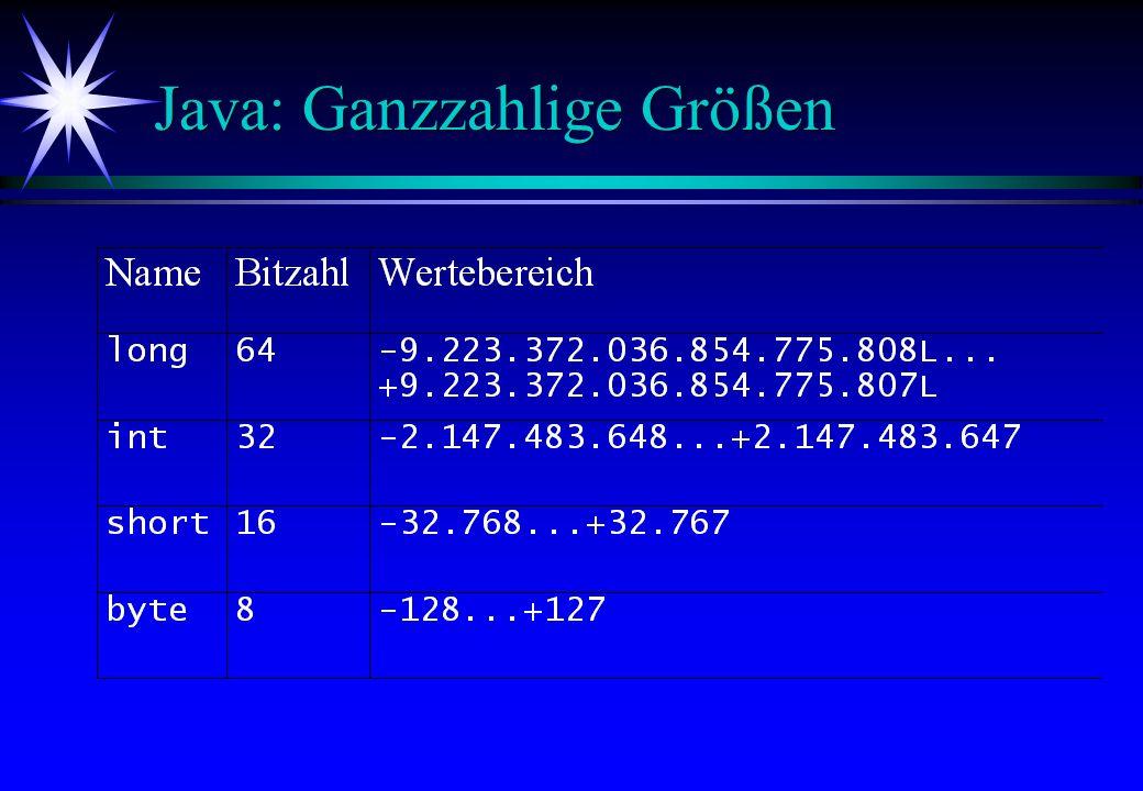 Java: Ganzzahlige Größen