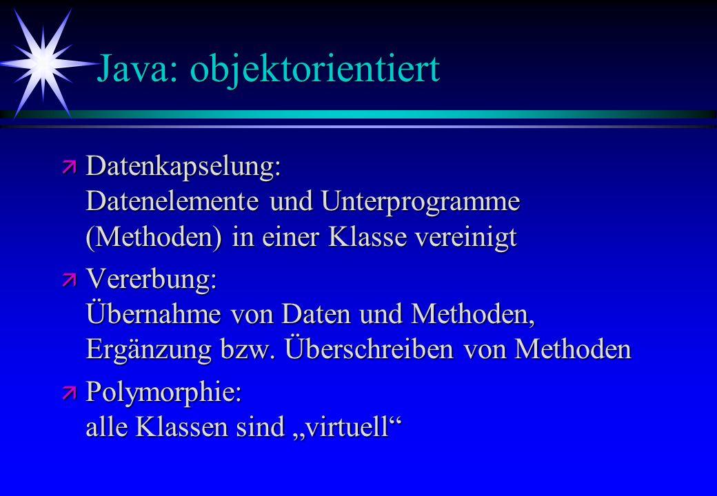 Java: objektorientiert ä Datenkapselung: Datenelemente und Unterprogramme (Methoden) in einer Klasse vereinigt ä Vererbung: Übernahme von Daten und Me