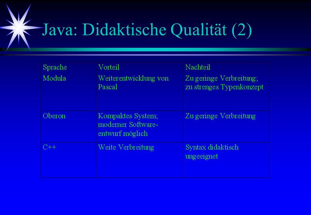 Java: Didaktische Qualität (2)