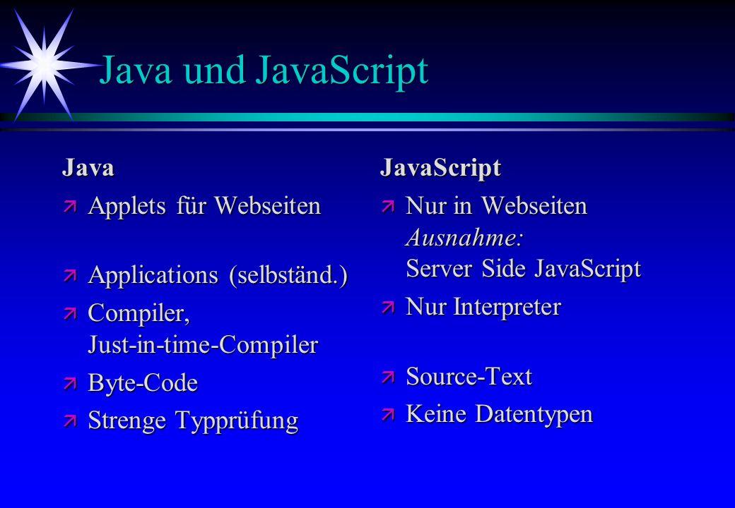 Java und JavaScript Java ä Applets für Webseiten ä Applications (selbständ.) ä Compiler, Just-in-time-Compiler ä Byte-Code ä Strenge Typprüfung JavaSc