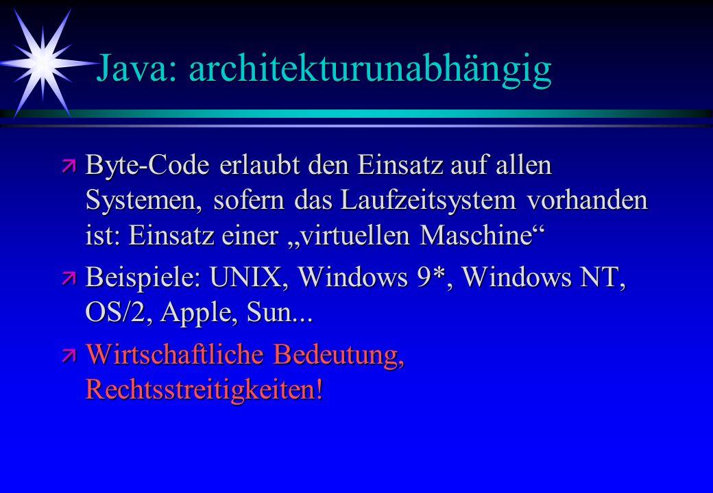 Java: architekturunabhängig ä Byte-Code erlaubt den Einsatz auf allen Systemen, sofern das Laufzeitsystem vorhanden ist: Einsatz einer virtuellen Masc