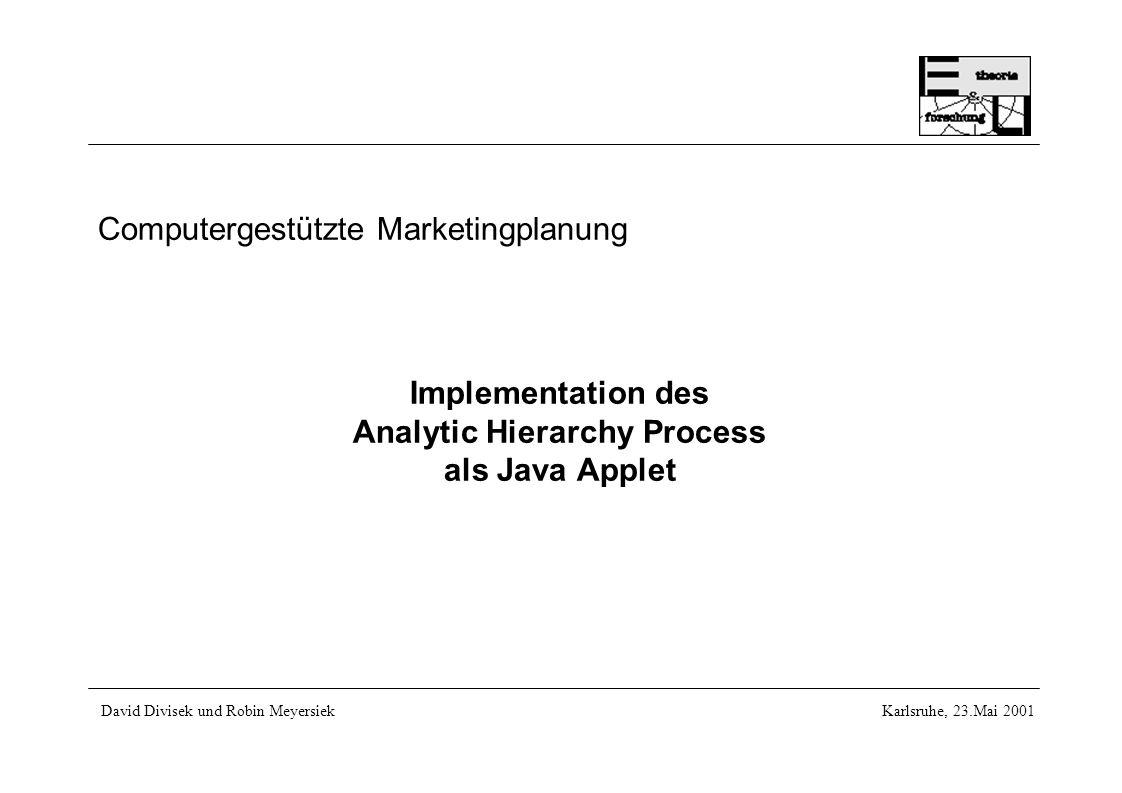 2 Inhalt des Vortrages 1.Der Analytic Hierarchy Process (AHP) 1.Die Vorgehensweise 2.Vortragbegleitendes Beispiel 2.Bisherige Implementationen 1.JavaAHP 2.Web-Hipre 3.Expert-Choice 3.Unsere Implementation: AHP for JAVA 1.Design und Datenstruktur 2.Vor- und Nachteile 3.Erweiterungsmöglichkeiten 4.Fazit ahp4java