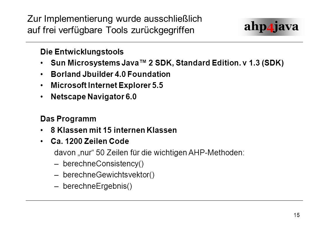 15 Zur Implementierung wurde ausschließlich auf frei verfügbare Tools zurückgegriffen Die Entwicklungstools Sun Microsystems Java 2 SDK, Standard Edit