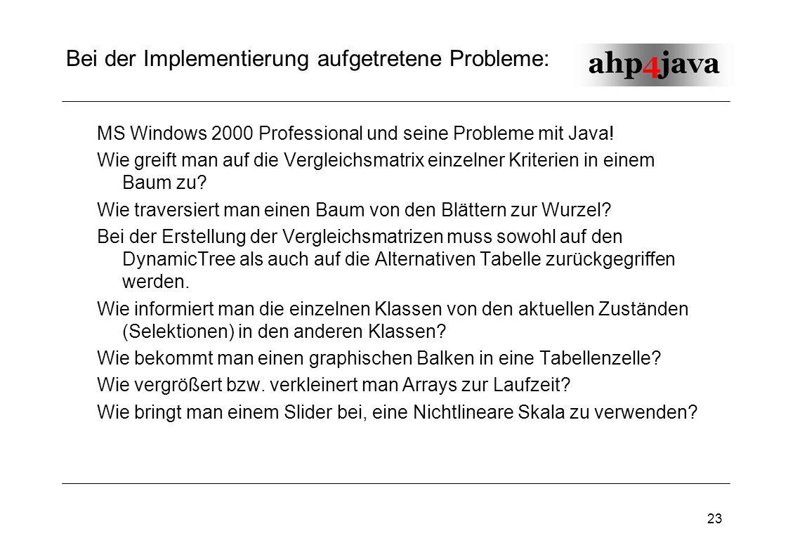 23 Bei der Implementierung aufgetretene Probleme: MS Windows 2000 Professional und seine Probleme mit Java! Wie greift man auf die Vergleichsmatrix ei