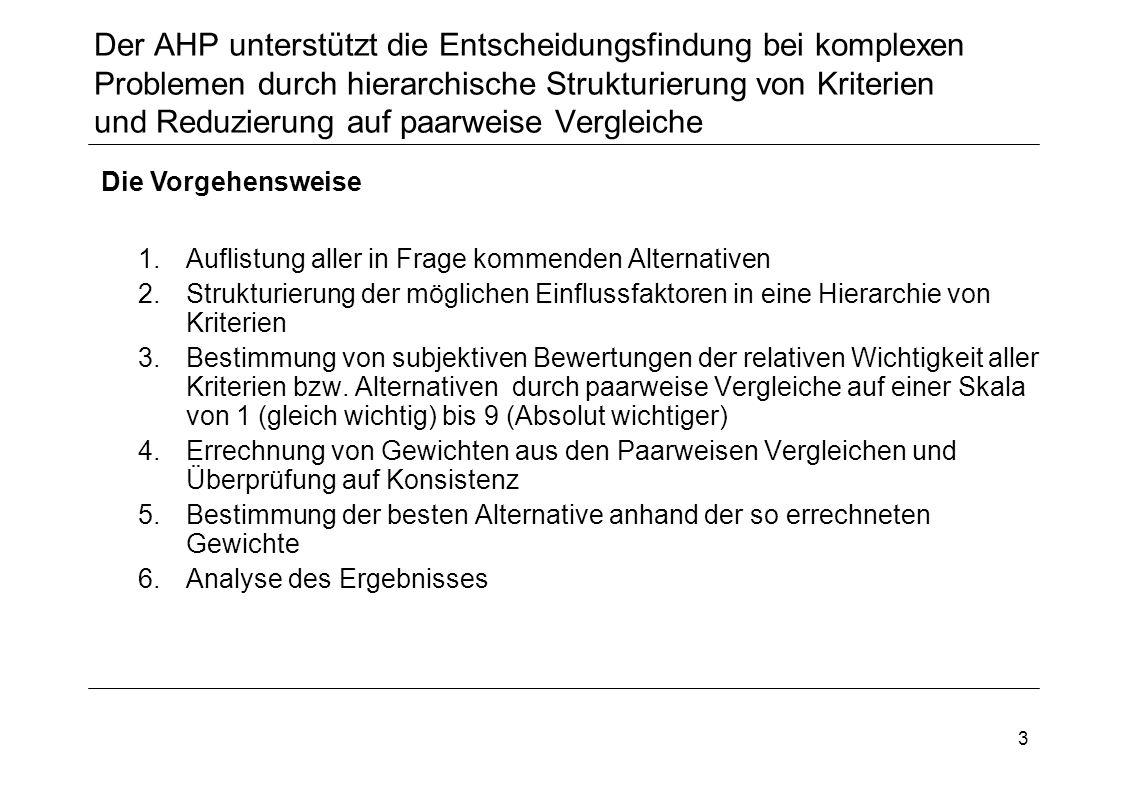 3 Der AHP unterstützt die Entscheidungsfindung bei komplexen Problemen durch hierarchische Strukturierung von Kriterien und Reduzierung auf paarweise