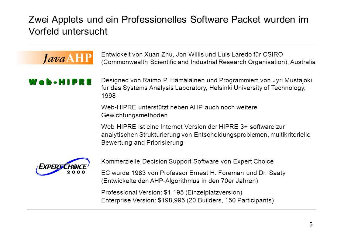 5 Zwei Applets und ein Professionelles Software Packet wurden im Vorfeld untersucht Kommerzielle Decision Support Software von Expert Choice EC wurde