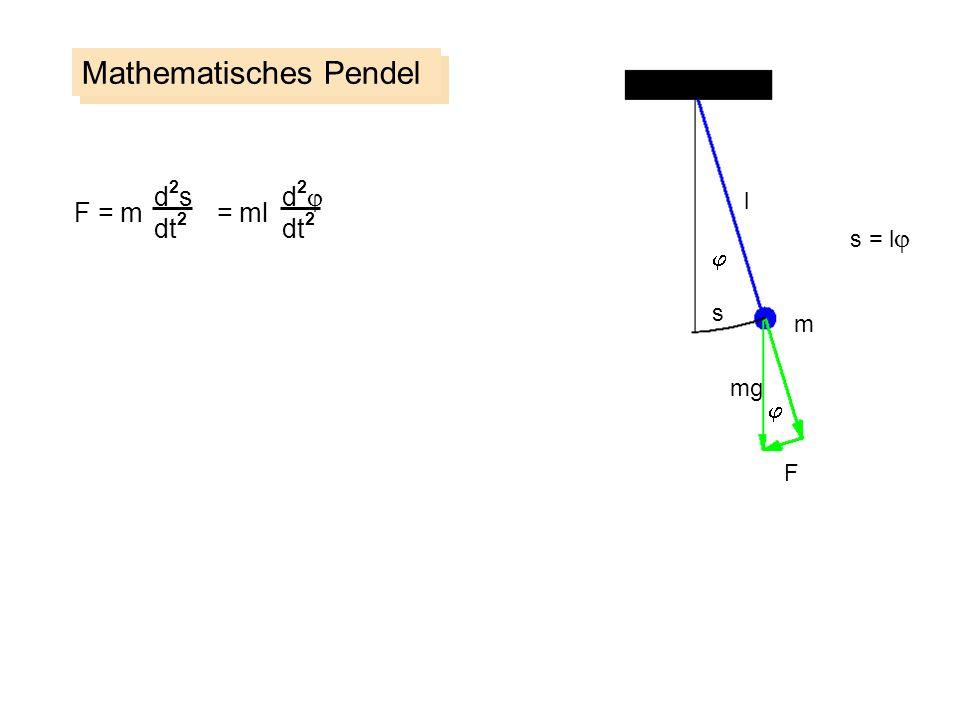 Mathematisches Pendel m s F l mg d2sd2s dt 2 F = m = ml d 2 dt 2 s = l