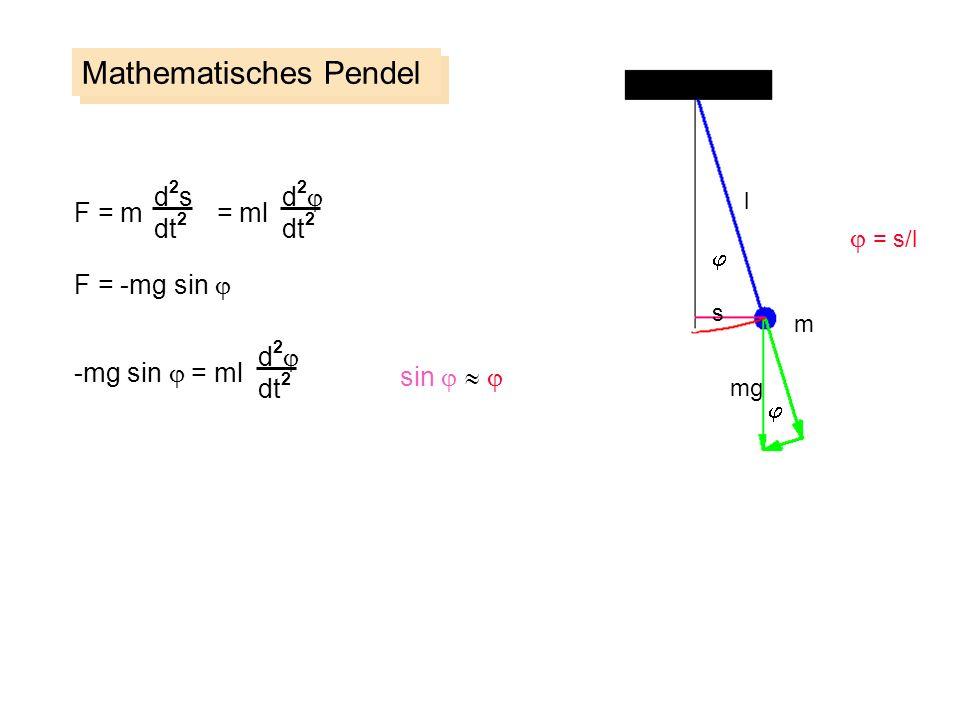 Mathematisches Pendel m s l mg d2sd2s dt 2 F = m = ml F = -mg sin d 2 dt 2 -mg sin = ml d 2 dt 2 sin = s/l