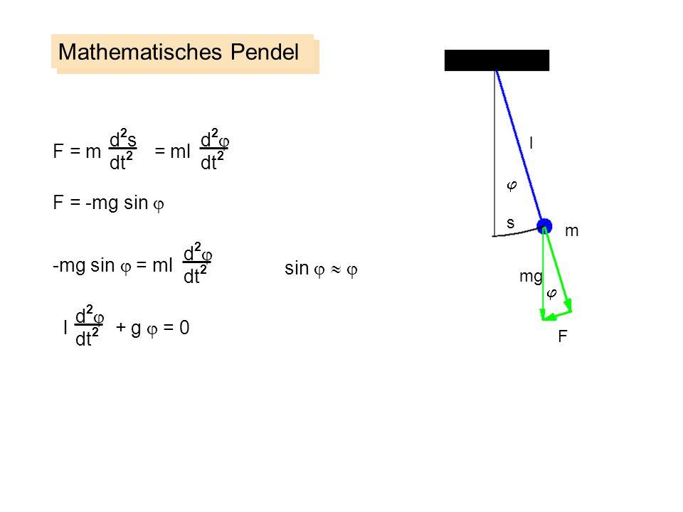 Mathematisches Pendel d2sd2s dt 2 F = m = ml F = -mg sin d 2 dt 2 -mg sin = ml d 2 dt 2 sin l + g = 0 d 2 dt 2 m s F l mg