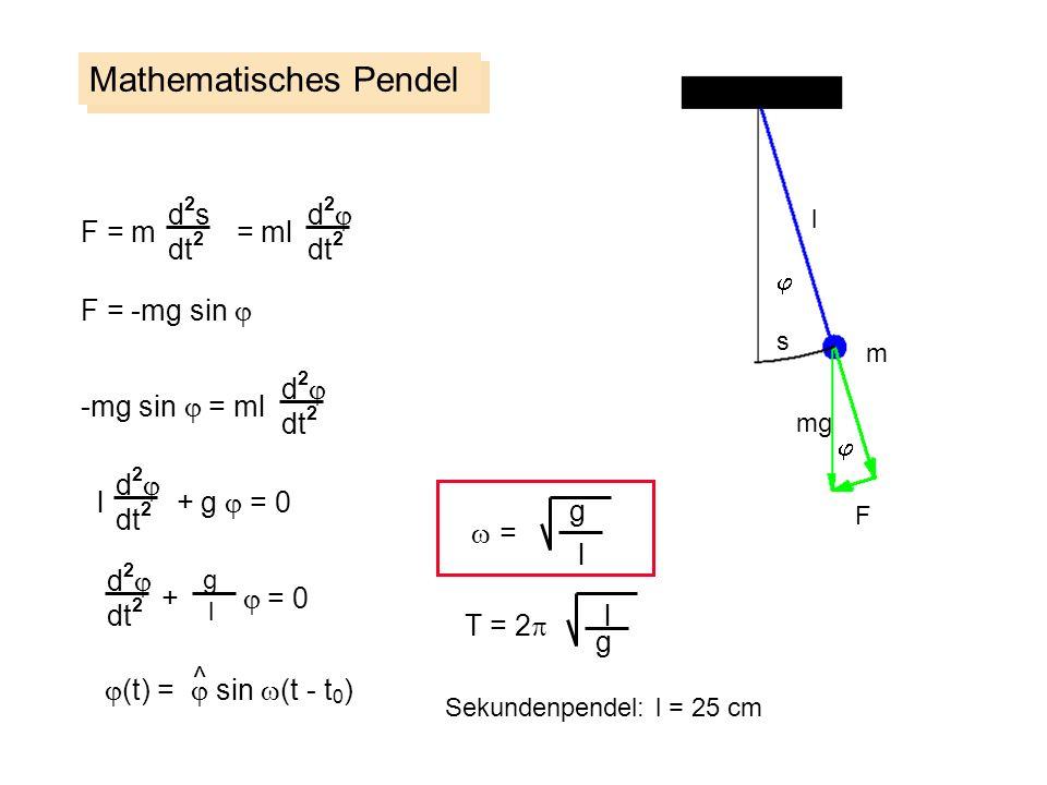 Mathematisches Pendel d2sd2s dt 2 F = m = ml F = -mg sin d 2 dt 2 -mg sin = ml d 2 dt 2 l + g = 0 d 2 dt 2 + = 0 d 2 dt 2 g (t) = sin (t - t 0 ) ^ = g